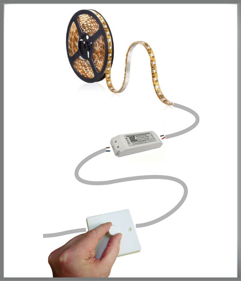 dimmable led tape with driver & dimmer switch