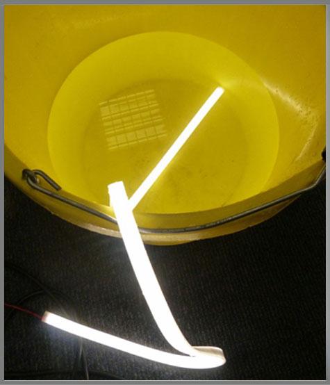 waterproof led tape in a bucket of water
