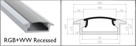 recessed profile rail for wider strip tapes