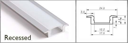 recessed profile rail for LED tape
