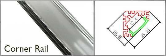 corner profile rail for LED tape