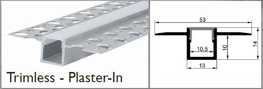 trim-less, plaster-in profile rail