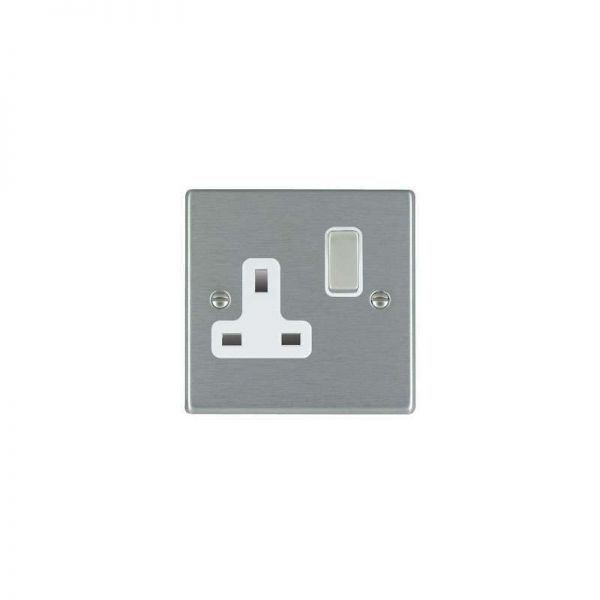Hamilton Hartland 1G 13A DP Switch with Socket Satin Steel White