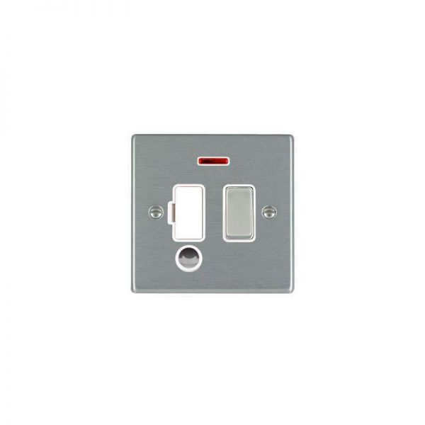 Hamilton Hartland 1G 13A DP Fuse and Neon with Cable Outlet Satin Steel White