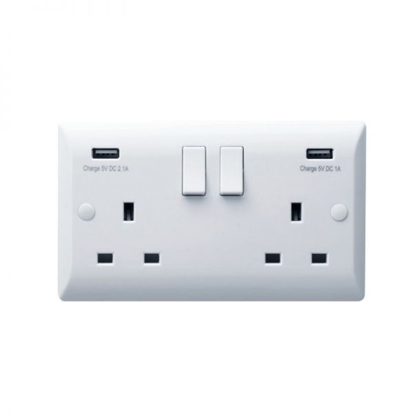 Hamilton Vogue 2G 13A DP Switched Socket With 2 USB Power Outlets