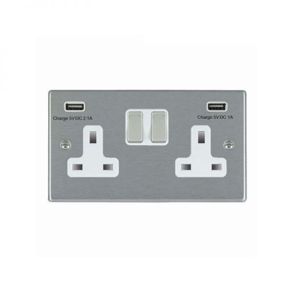 Hamilton Hartland 2G Switched Socket with USB Outlets Satin Steel White