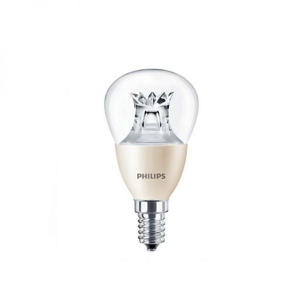 Philips E14 LED Lustre lamp (golf ball shape), with a 6W energy consumption and 2700K colour temperature.