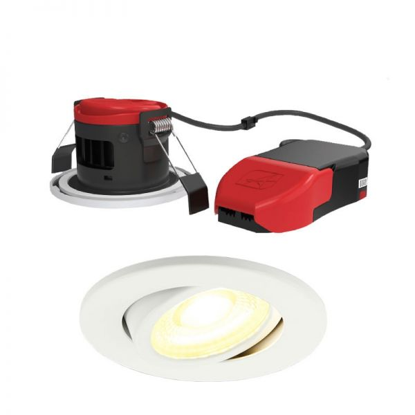 Fire Rated CCT Gimbal LED Downlight Ansell Prism Pro