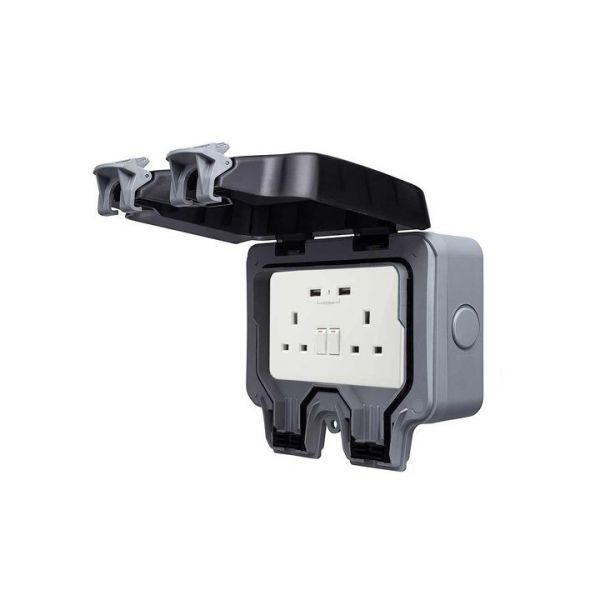 Ener-J Smart WiFi 13A Twin Wall Sockets IP66 With 2 USB Ports